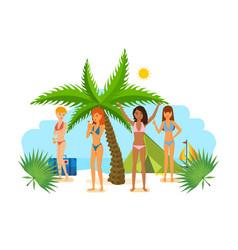 Woman in bikini sunbathe in the summer in tropics vector