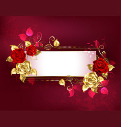 Rectangular banner with red roses vector