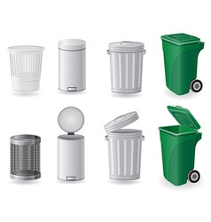 Trash can and dustbin set icons vector