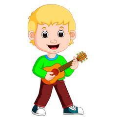 little boy cartoon playing guitar vector image