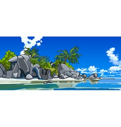 Cartoon beautiful tropical island vector