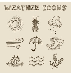 Hand draw weather icon set vector