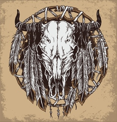Hand drawn cow skull and feathers vector