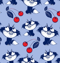Funny catroon cat smile background vector