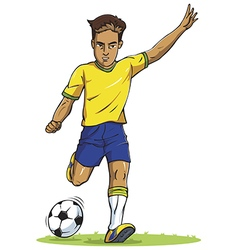 Soccer football player young man kicking in vector
