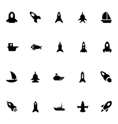 Aircraft and ships icons 4 vector
