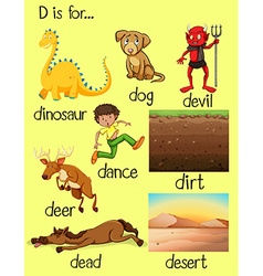 Different words beginning with letter d vector