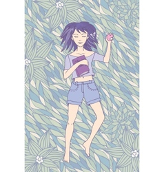 Young girl sleeping on the grass vector