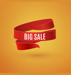 big sale red ribbon on orange background vector image vector image