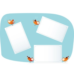Birds holding paper lists vector image