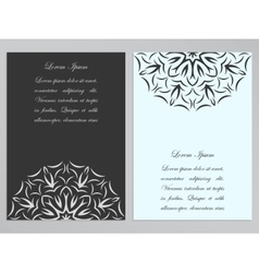 Black and white flyers with ornate flower pattern vector