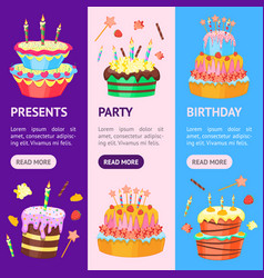 cartoon color cakes banner vecrtical set vector image vector image
