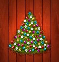 Christmas Tree Decorated Colorful Balls vector image vector image
