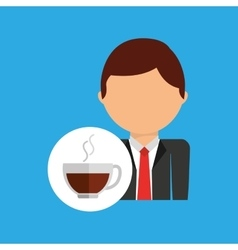 Cup coffee business man suit worker icon vector