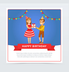 Cute boy and girl with gift box kids birthday vector