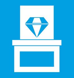 Diamond in box icon white vector