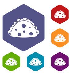Empanada cheburek or calzone icons set hexagon vector