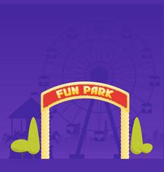 Entrance to the amusement park circus carousel vector