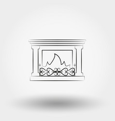 fireplace icon line vector image