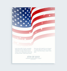 flyer of 4th of july with smerican flag vector image vector image