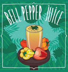 Fresh capsicum or bell pepper juice in glass vector