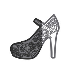Gray thick contour of high heel shoe with belt and vector
