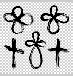 hand drawn set cross grunge cross cross made vector image vector image