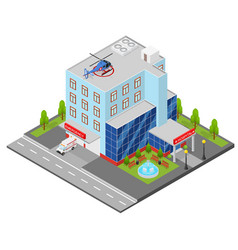 Hospital building isometric view vector