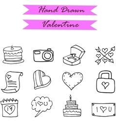 Icon of valentine object hand draw vector