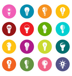 lamp logo icons many colors set vector image vector image