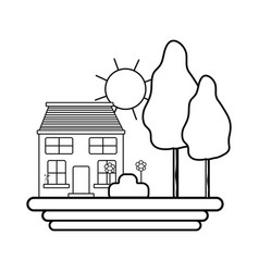 Line house with trees and plant with flowers and vector