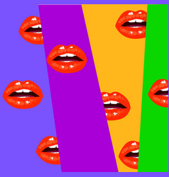 modern background with open mouth red sexy lips vector image vector image
