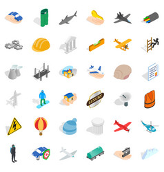 Policy icons set isometric style vector