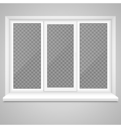Realistic Closed Middle Open Plastic Window with vector image