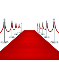 realistic red carpet between rope barriers eps 10 vector image