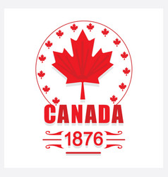 Red canada day 1876 maple leaf emblem icon vector