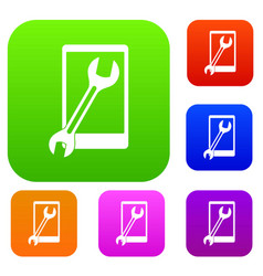 repaired phone set color collection vector image vector image