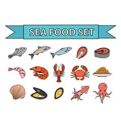Sea food icons set Modern line doodle vector image