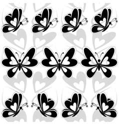 Seamless background butterflies silhouettes vector