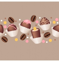 seamless pattern with chocolate sweets vector image vector image