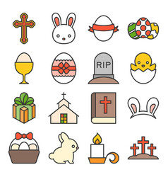 set of cute easter icon vector image vector image