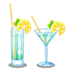Set with two glasses for martini and mojito vector