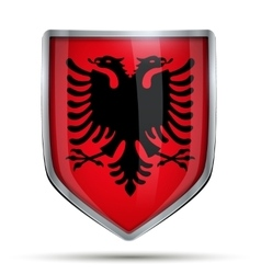 Shield with flag albania vector