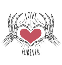 Skeleton pink heart hands vector