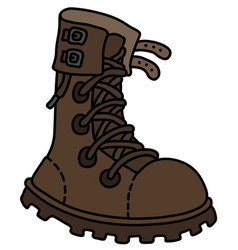 The brown leather high lacing shoe vector