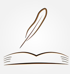 The open book and pen vector
