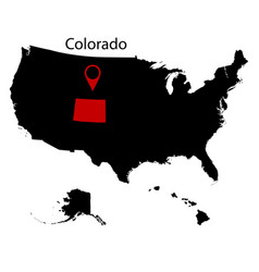 us state of colorado on the map vector image vector image