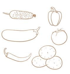 Vegetables set doodle vector