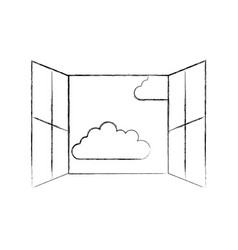 Window with clouds sky isolated icon vector