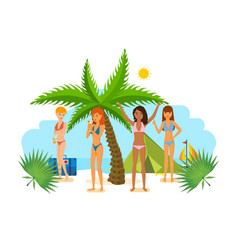 Woman in bikini sunbathe in the summer in tropics vector